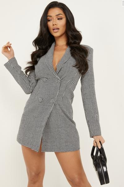 Black Check Blazer Dress